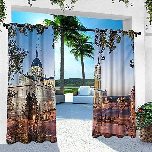 leinuoyi European, Outdoor Curtain Set, Old Cathedral and Royal Palace in Madrid Mediterrenean City Europe Urban Print, for Patio Furniture W108 x L108 Inch Multicolor
