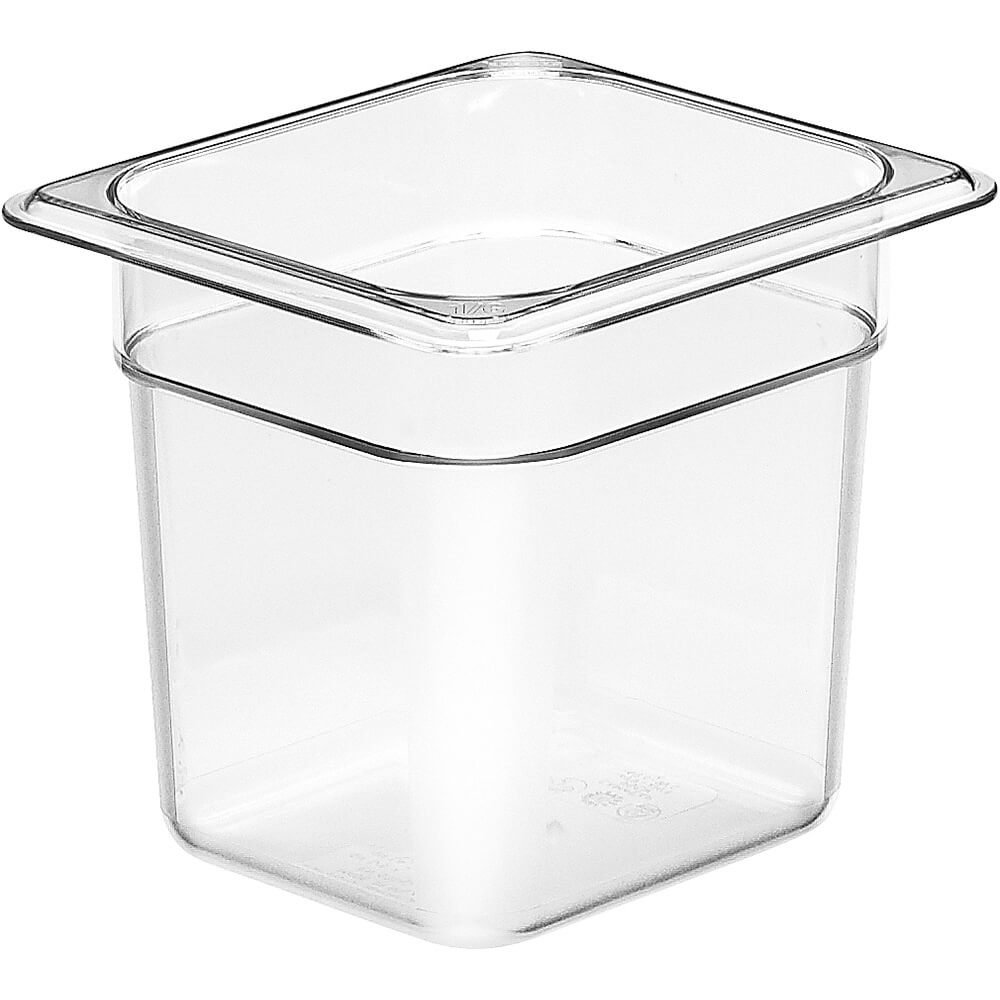 Camwear Food Pan, Plastic, 1/6 Size, 6'' Deep, Polycarbonate, Clear, Nsf (6 Pieces/Unit)