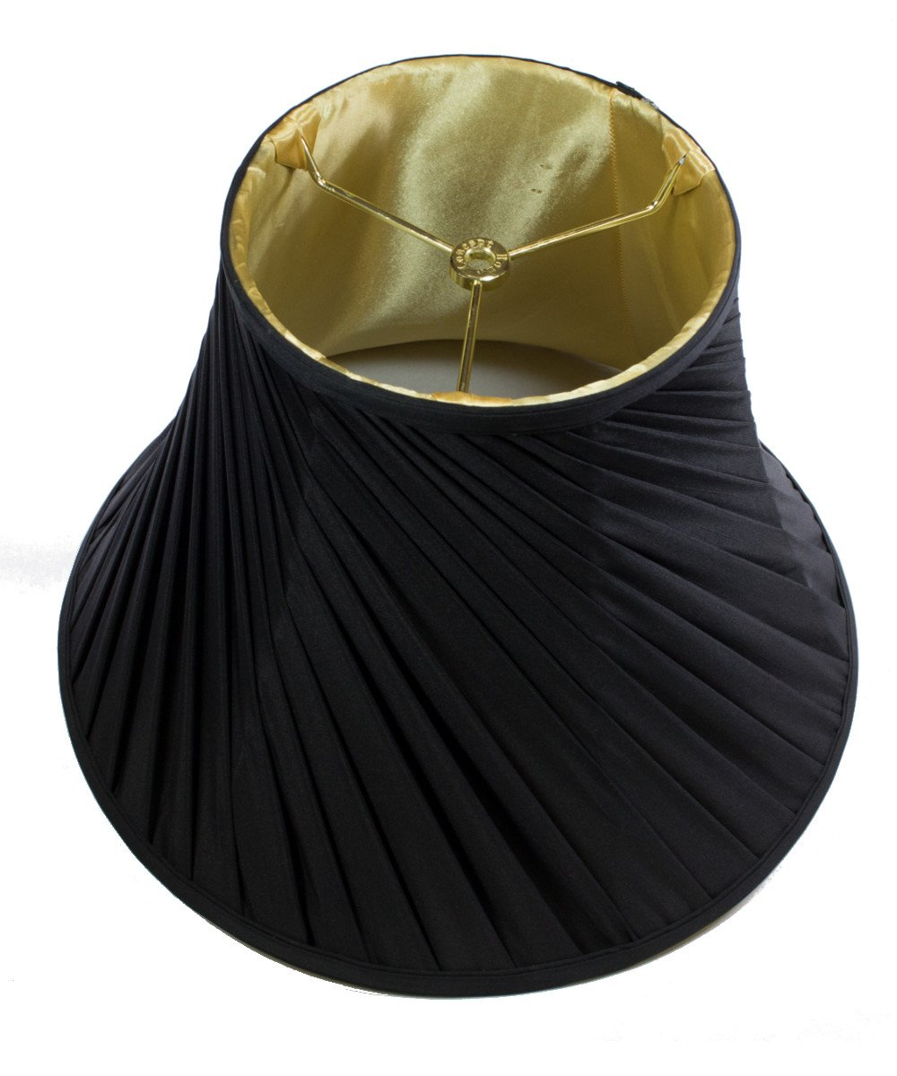 HomeConcept 081612BSBK Crisp Linen Twist Bell Lampshade Fabric with Brass Spider Fitter by Home Concept, 8'' x 16'' x 12'', Black