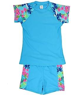 4793cf0de1b20 iDrawl Kids Two Piece Swimsuits Set Short Sleeves Swimwear Boys Girls  Bathing Suit Rash Guard Sets