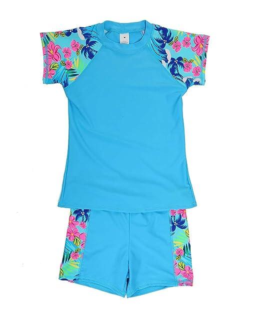 7cc040347d8 iDrawl Boys Two Piece Swimsuit Short Sleeves Tankini Set UPF 50+ UV  Protection Swimming Suit