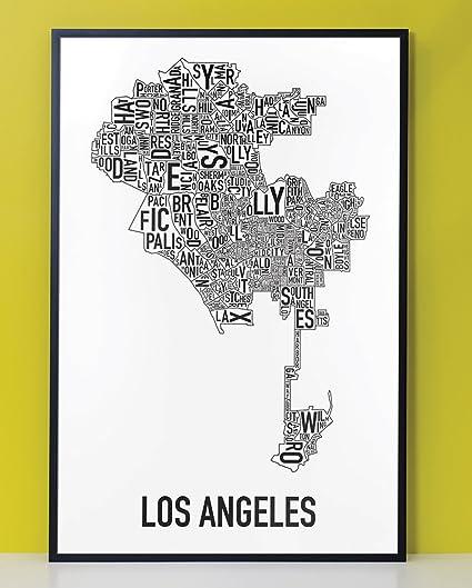 Amazon.com: Framed Los Angeles Neighborhoods Map Art Poster, Black ...