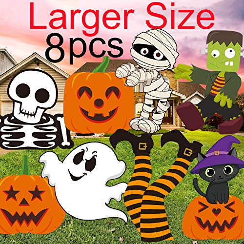 Family Friendly Halloween Party Themes (MISS FANTASY Halloween Yard Stakes(8 Pieces) for Kids Halloween Yard Decorations Outdoor Extra Large Pumpkins Skeleton and Ghost Corrugate Halloween Garden Stake Yard Signs Family Friendly)