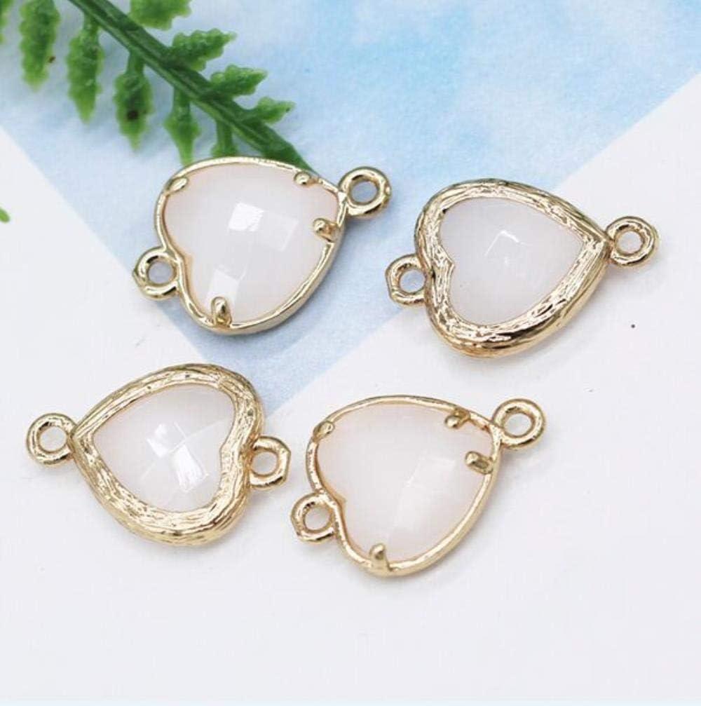 12pcs 10mm Corazón 2-loop de cristal de piedra natural rhinestone facetado cuarzo enmarcado pulsera colgante collar conector accesorio, jade blanco