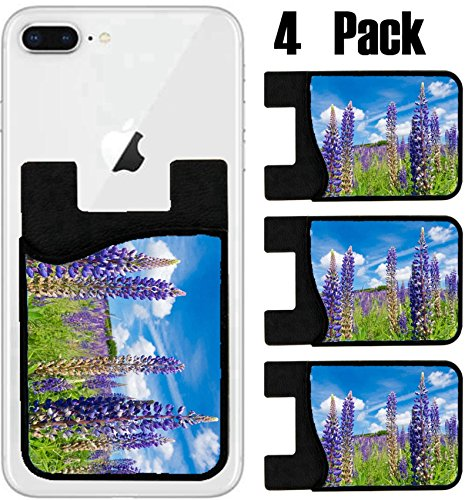 MSD Phone Card holder, sleeve/wallet for iPhone Samsung Android and all smartphones with removable microfiber screen cleaner Silicone card Caddy(4 Pack) IMAGE ID: 30908158 field with purple lupine - Lupine Returns