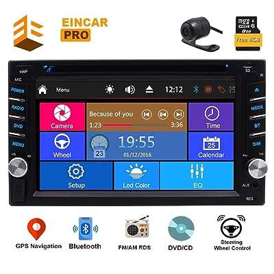6.2 Inch 2 din Car DVD Player GPS Navigation Multi-Touchscreen Car Radio in-Dash Audio Car Stereo AM/FM RDS Bluetooth Remote Control Backup Camera Head Unit USB SD SWC 8GB Map Card: Automotive