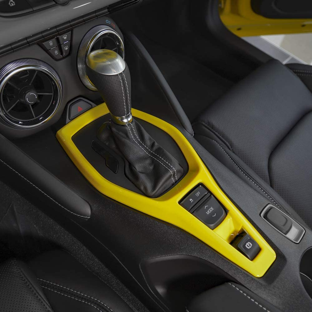 RT-TCZ Gear Shift Panel Trim Cover Dash Board Frame Decor Trim ABS Cover for Chevrolet Camaro Accessories 2017 2018 2019 2020 Yellow Set