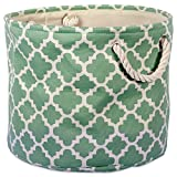 DII Printed Polyester, Collapsible and Convenient Storage Bin to Organize Office, Bedroom, Closet, Kid's Toys, Laundry - - Large Round, Bright Green Lattice 16x16x15,