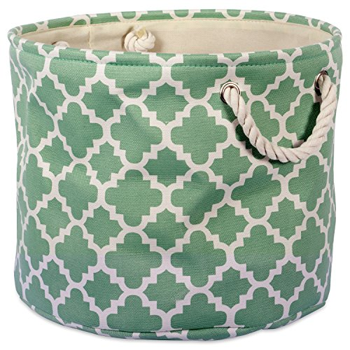 "DII Collapsible Polyester Storage Basket or Bin with Durable Cotton Handles, Home Organizer Solution for Office, Bedroom, Closet, Toys, & Laundry (Large Round – 15x16""), Bright Green Lattice"