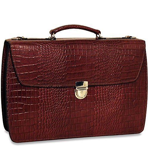 (Jack Georges [Personalized Initials Embossing] Limited Edition Croco Collection Double Gusset Flapover Briefcase)