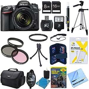 "Nikon D7200 DX-format Digital SLR Camera Bundle w/ 18-140mm lens, cleaning kit, gadget bag, 8GB & 16GB memory cards, 57"" tripod, mini tripod 67mm filter kit, universal manual flash & more"