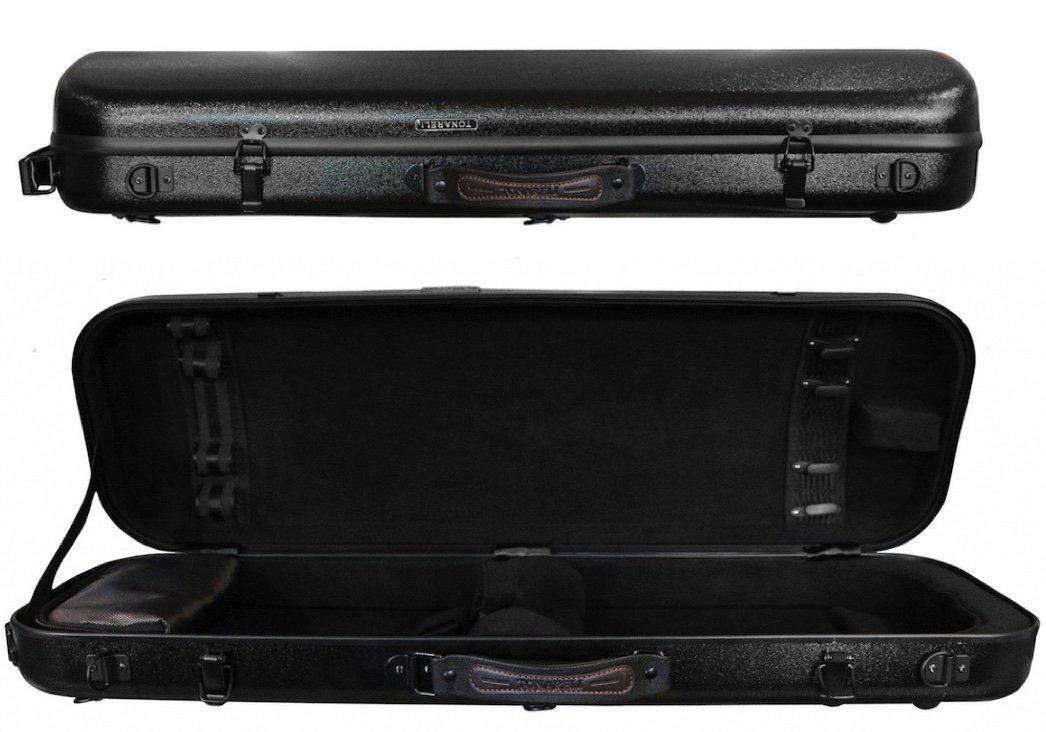 Tonareli Violin Oblong Fiberglass Case - Black 4/4 VNFO 1010
