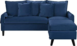 Divano Roma Furniture Classic Sectional, Navy