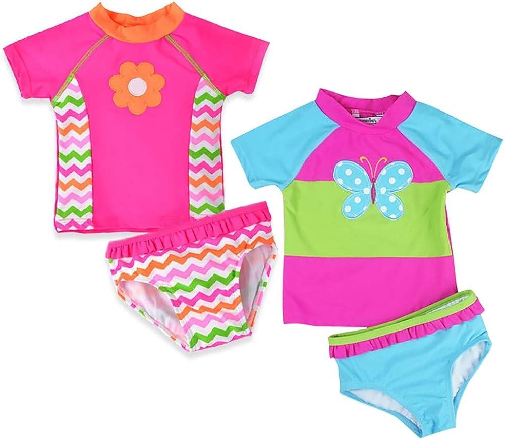 Baby Toddler Girls Two Piece Swimwear Bathing Suits Princess Vibrant Swimsuit Set with Short Sleeve Rash Guard Shirt UPF50+