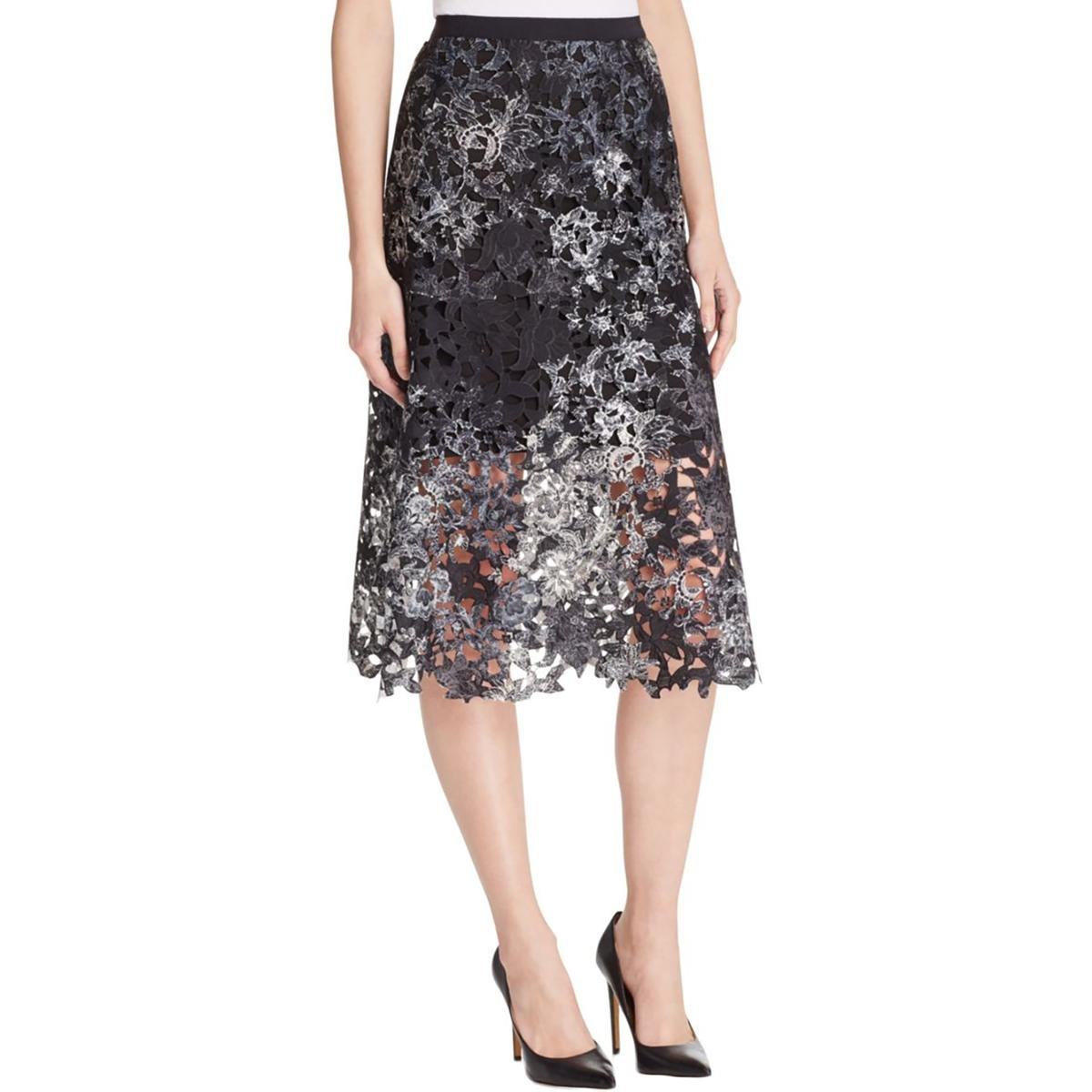 Elie Tahari Womens Tayla Printed Lace Overlay A-Line Skirt Black 16