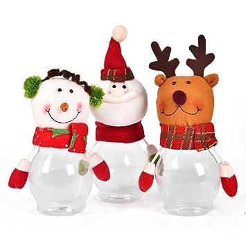 BAINASIQI Niños Papá Noel Muñeco de Nieve Navidad Alce Candy Tarro de Dulces Plástico Decoración 3