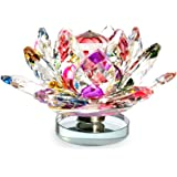 Starstell Fengshui Revolving Multicolor Crystal Lotus Flower Showpiece With Roating Base - 5 Cm (H)