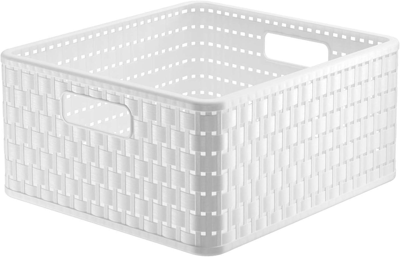 Rotho Country - Caja de almacenaje con efecto de mimbre, Blanco, A4: Amazon.es: Hogar