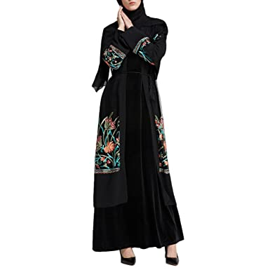 Zhhlaixing Ladies Womens Muslims Dresses Open Front Islamic Cardigan Abaya Embroidery Long Dress with Belt