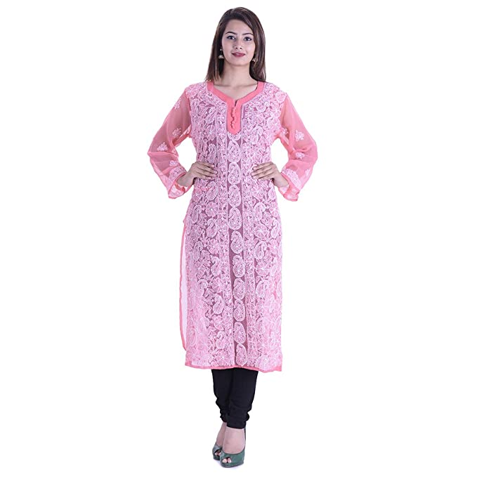 f95eac1bd73 Indian Handicraft Palace Ladies And Woman Georgette Lucknowi Chikankari  Embroidery Kurti-Kurta-Top  Amazon.in  Clothing   Accessories