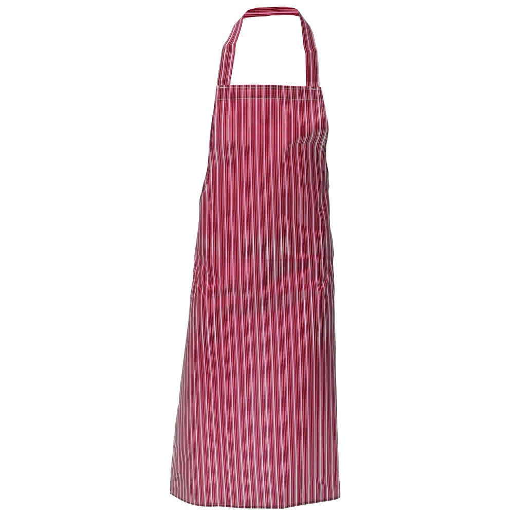 "HUBERT Red Striped Plastic Waterproof Bib Apron - 40""L x 28""W"