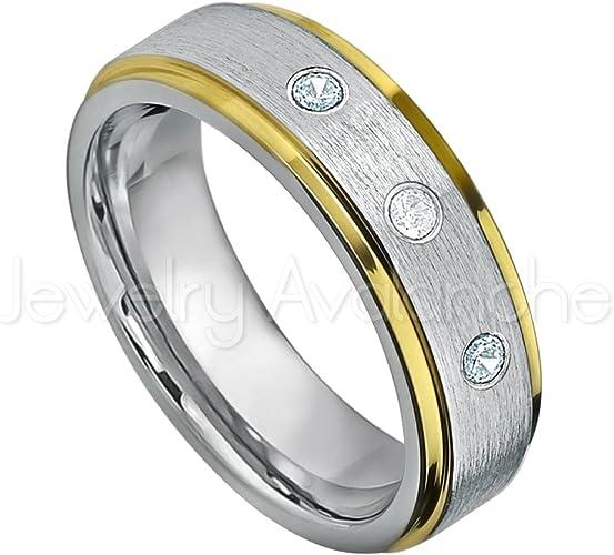 Comfort Fit Tungsten Carbide Ring Tungsten Wedding Ring 8mm Rose Gold Tungsten Ring March Birthstone Ring 0.21ctw Aquamarine /& Diamond 3-Stone WeddingBand