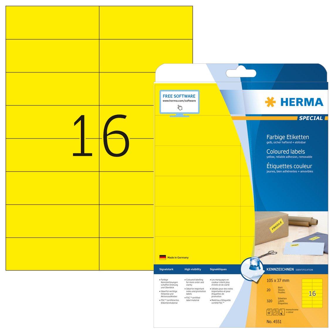 s Amarillo, Rect/ángulo, A4, Universal, Matte, Laser//Inyecci/ón de tinta HERMA 4551 Rect/ángulo Amarillo 320pieza - Etiqueta autoadhesiva