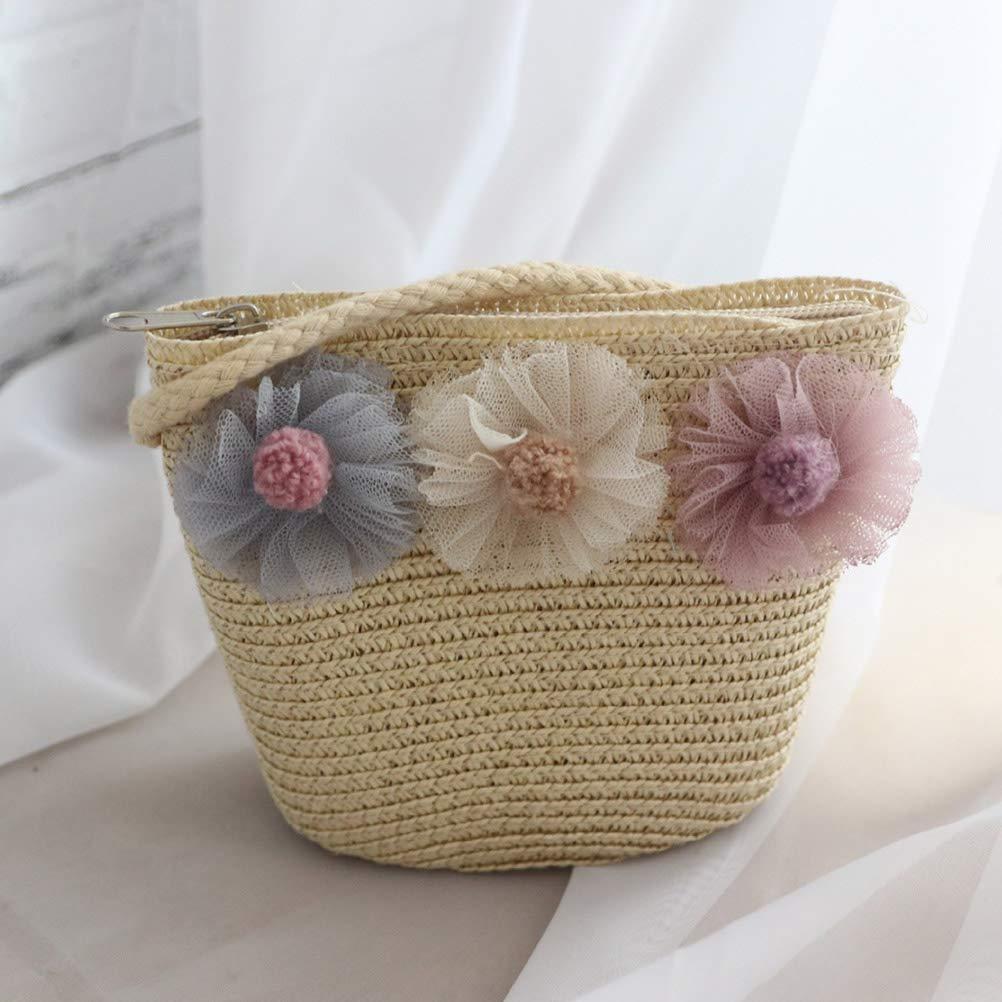 beige FENICAL Bolso bandolera de paja Flor de encaje tejida Bolsa de playa Tejida Messenger Bag para ni/ñas