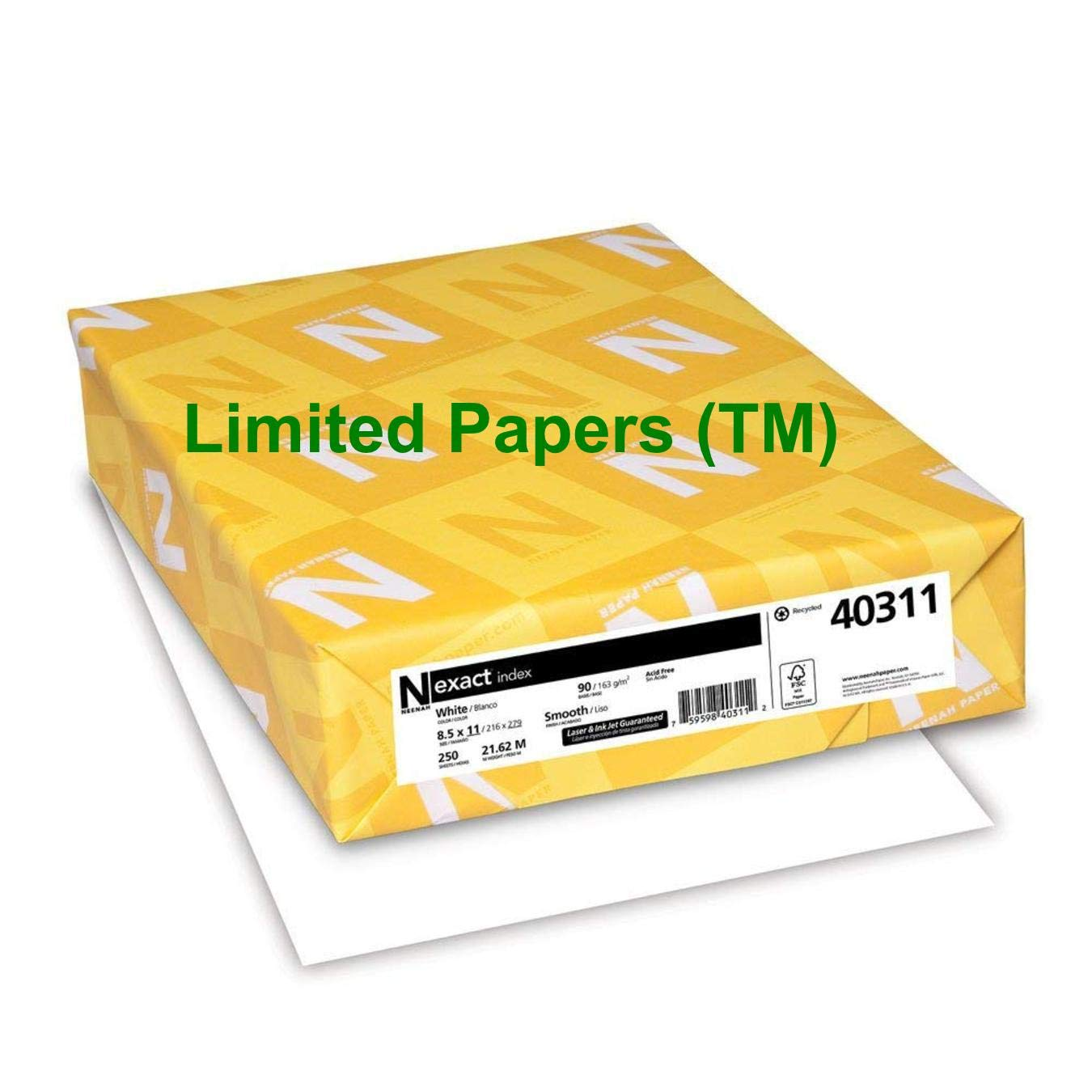 Limited Papers (TM) Exact Index Cardstock, 94 Brightness, 90 lb /163 gsm, 8.5'' x 11'', White - 40311 (8 pack- case)