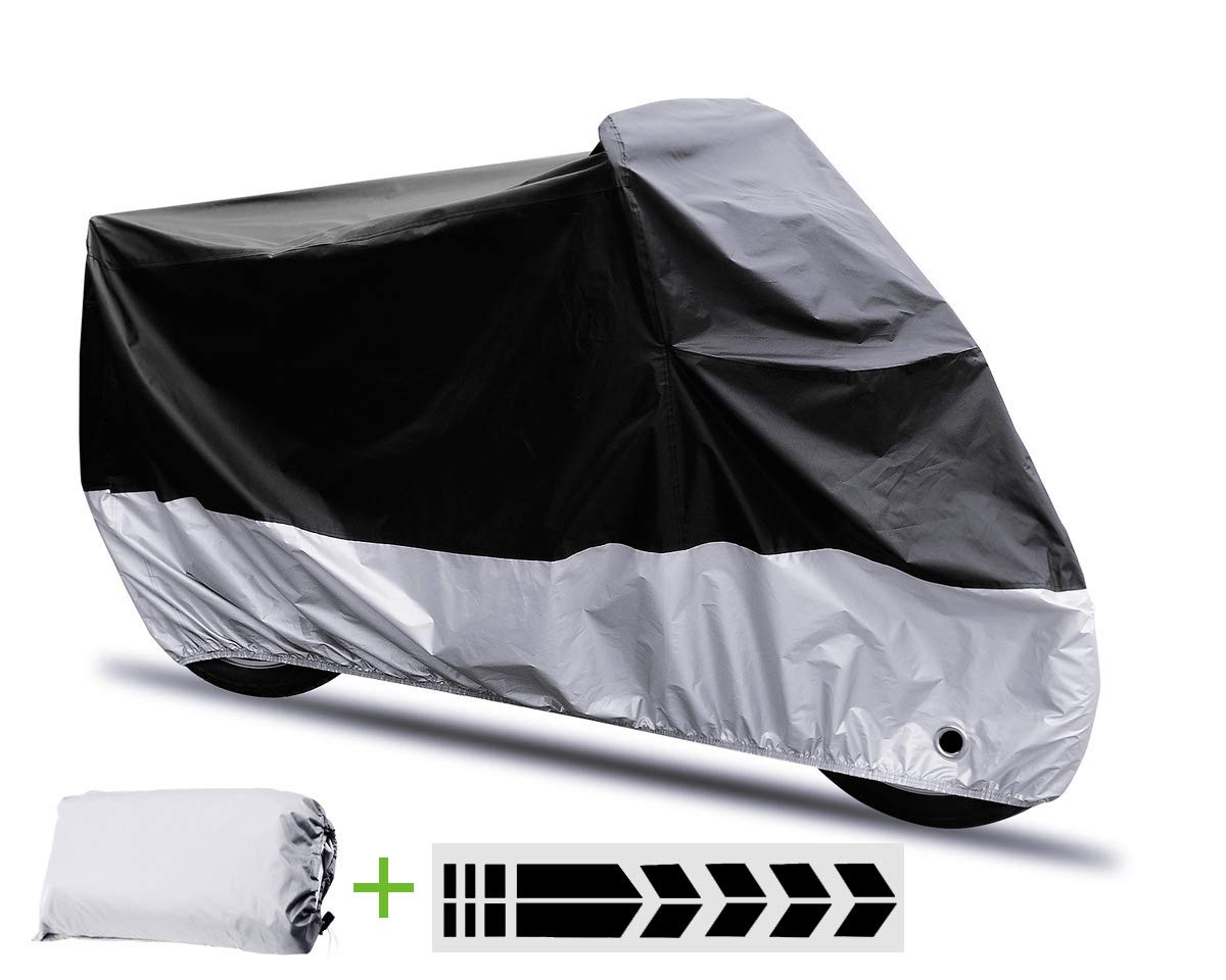 Extra Large XXL,Black MOYA Life Motorbike Cover Anti Dust Rain Snow UV Indoor Outdoor Protection with Lock-holes Storage Bag Breathable Nylon Waterproof Motorcycle Cover