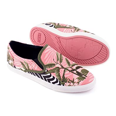 Women's Printed Slip On Sneakers - Pink Floral Zebra