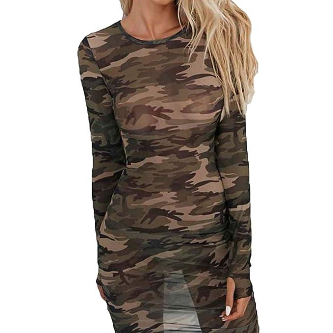 Bodycon Kleid für Damen - Elegant Tarnung Slim Fit A-linie Kleider ...