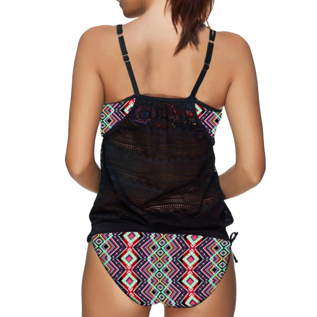 DOGZI Traje de Baño de Playa para Mujer Traje de Playa Bikini Bañador Retro Estampado Verano Color Sólido Sin Respaldo Playa Bikinis 2018 Bikini Push Up ...