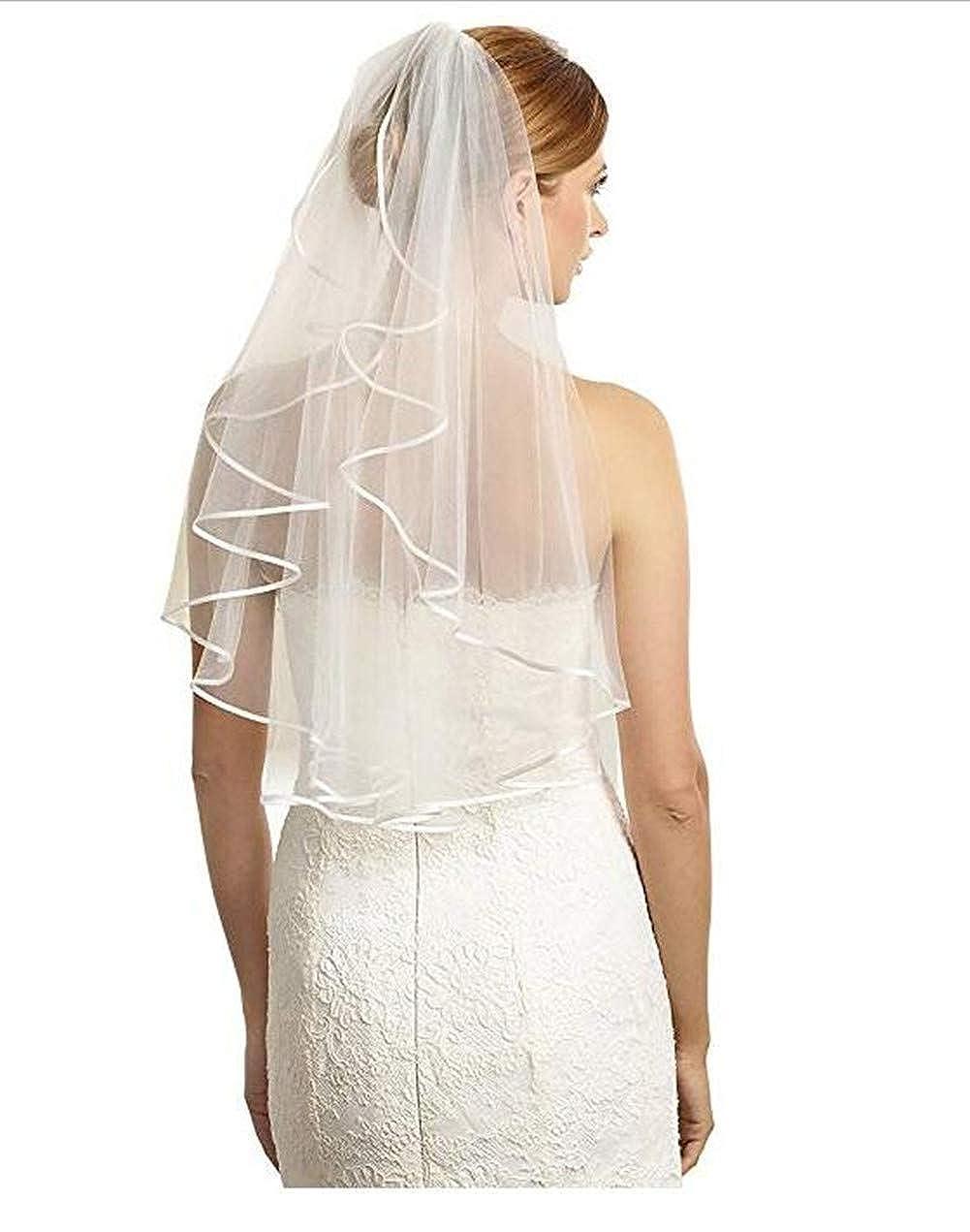 Meibida Brautschleier 2 Schicht kurz Brautschleier Hochzeitsschleier mit Kamm