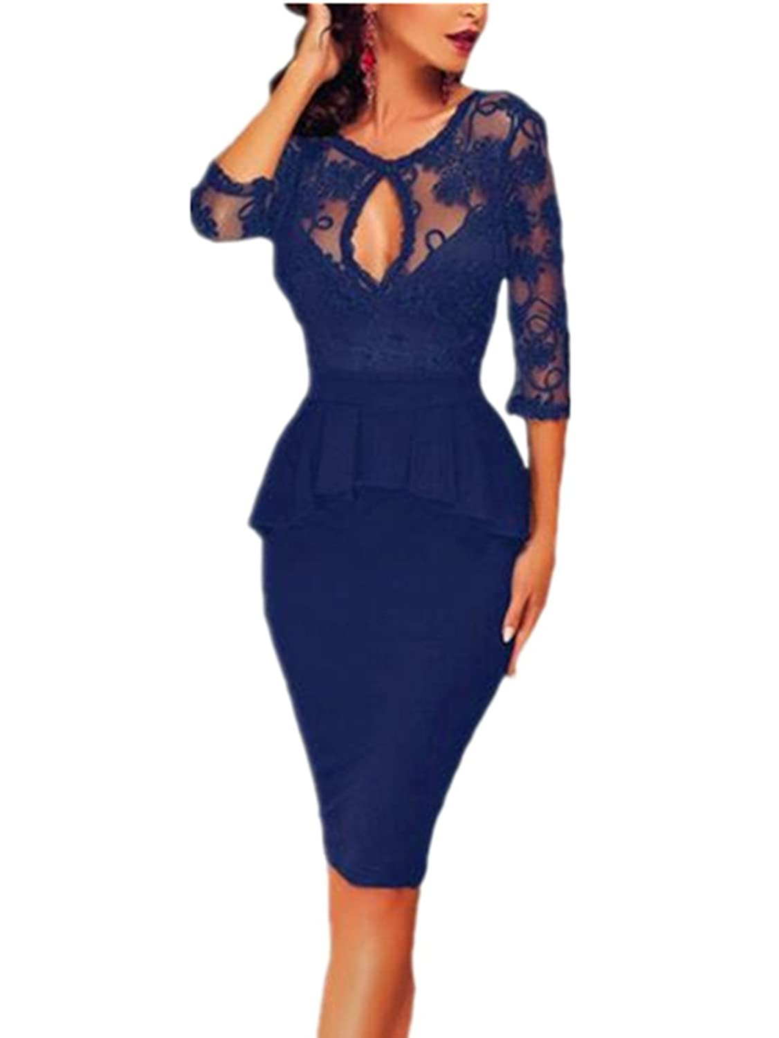 GESELLIE Womens Elegant Sexy Backless Flounce Lace Party Plus Size Bodycon Dress