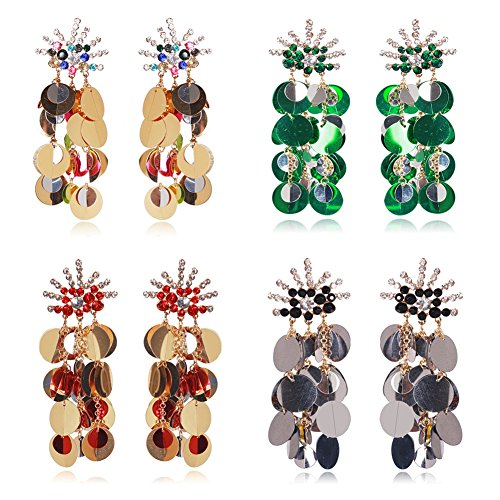 Country Western Dance Competition Costumes (Women Tassel Sequins Dance Earrings Ear Stud Fashion Jewelry Long (Pack of 4))
