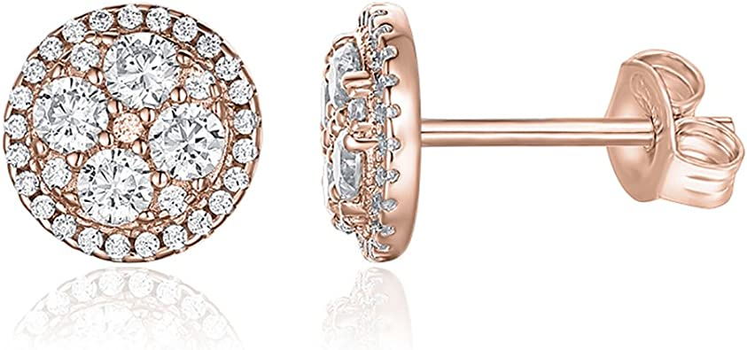Sterling Silver /& Rose Gold-plated Heart 6.5mm CZ Stud Earrings