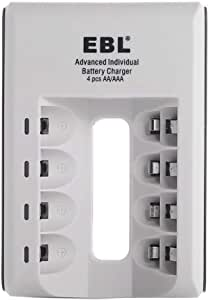 Ebl EBL-807 4 Bay Individual Smart AA AAA Ni-MH Ni-CD Rechargeable Battery Charger for Cameras