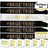 19-Piece Bridal Shower Party Sash Set | Perfect for Bachelorette Parties for Family and Friends Soon to Tie The Knot | 1 pc Bride sash, 5 pcs Bride Tribe Sashes, 6 Gold Tattoos and 7 Safety Pins (19)