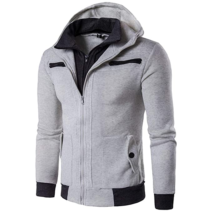Mens Hooded Jacket,Solid Thermal Double Zipper Sweater Hooded Overcoat Zulmaliu (Gray,M