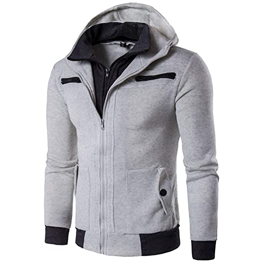 vermers Mens Fashion Hooded Outwear Clothes Clearance Mens Autumn Winter Casual Zipper Thermal Hoodie Warm Coats