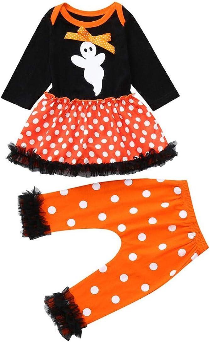 Halloween Kids Outfits,Fineser Newborn Baby Girls Ghost Dot Dress Romper Pants Halloween Outfits Clothes 2 Set