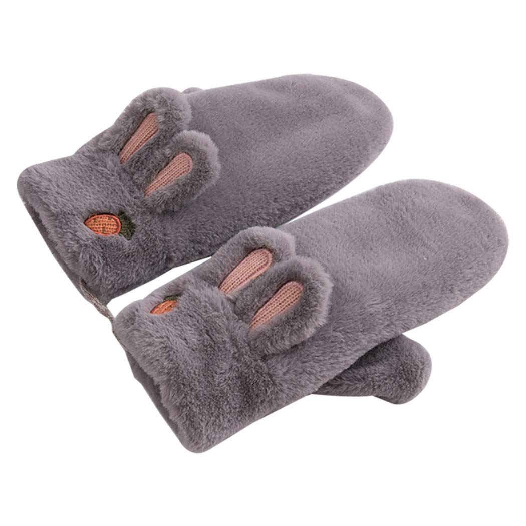 Les umes Girls Petite Womens Cartoon Fuzzy Fluffy Lined Mittens Hanging String Gloves