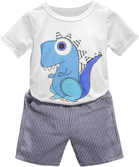 Conjuntos Niño Ropa 2-6 Años, 2PC Ropa niños de verano Conjuntos Camisas Camiseta Estampada con Dinosaurio Dibujos Animados y Pantalón Corto a Rayas (Blanco, Tamaño:3 Años): Amazon.es: Bebé