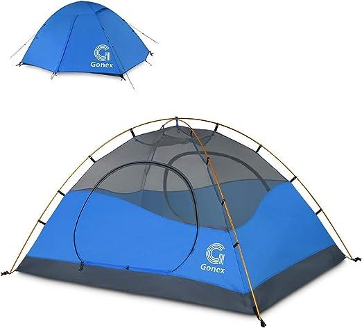 Gonex Tienda de Campaña 2/4 Personas, Tienda de Camping Ligero Impermeable Anti Viento, Tienda Domo para Senderismo Excursionismo Trekking Mochileros ...