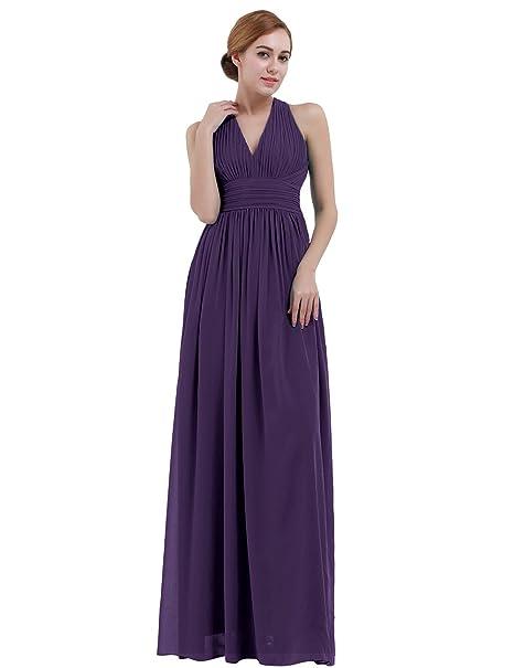 9c268b2133 iEFiEL Vestido Largo de Boda Cóctel para Mujer Dama de Honor Cuello V  Espalda al Aire  Amazon.es  Ropa y accesorios