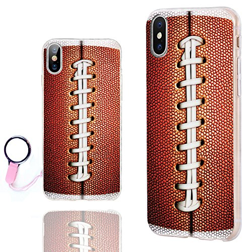 CHICHIC iPhone Xs Case Cute,iPhone X Case Cool,iPhone 10 Case, Ultra Thin Slim Flexible Soft TPU Clear Case Cover with Design for Apple iPhone Xs X 10,Funny Brown Football