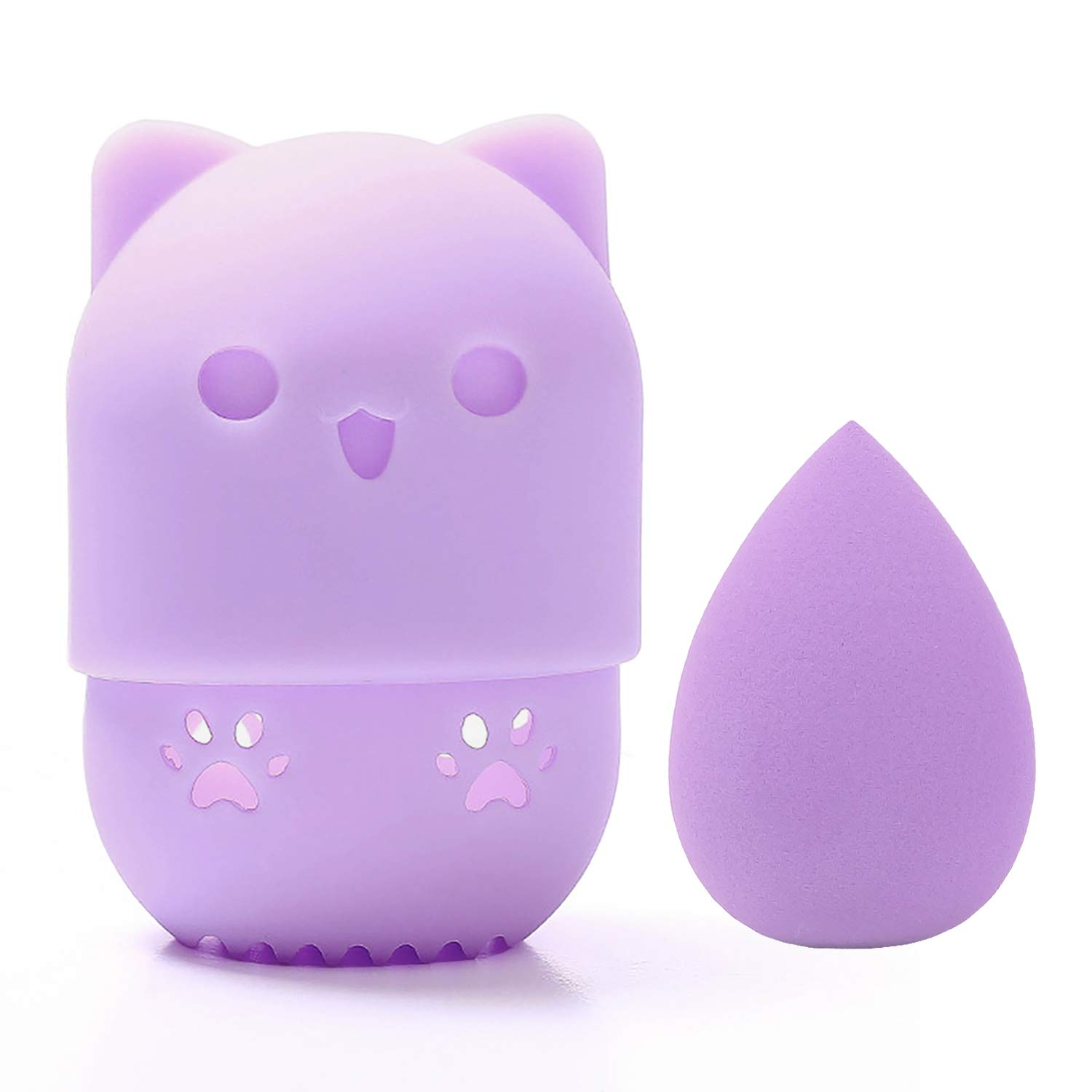 [Allure & Co.] Soft Makeup Sponge and Cute Cat Shaped Container Set - Travel Case for Beauty Blender (Purple)
