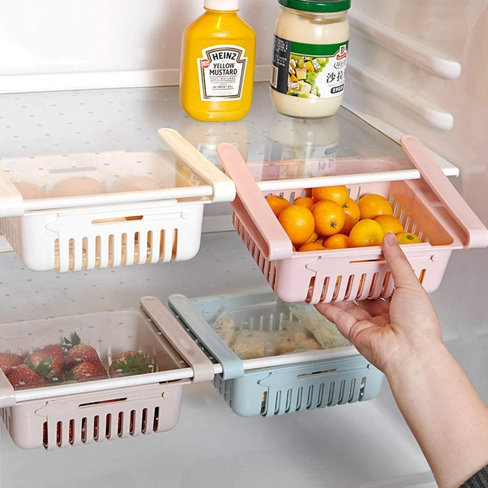 Fridge Drawer Organizer 4 Pack Retractable Pull-Out Refrigerator Storage Box Fridge Shelf Holder Storage Box Unique Design Pull Out Bins Fit for Fridge Shelf Under 0.5 inch