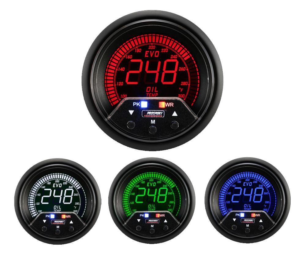 Prosport Gauges Oil Temperature Gauge- Electrical Digital Green/White/red/Blue Premium EVO Series 60mm (2 3/8 by Prosport Gauges